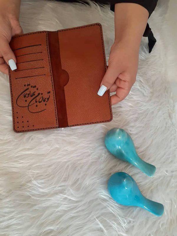 کیف پول مردانه دست دوز با چرم بزی در طرح ساده با کد KPB001